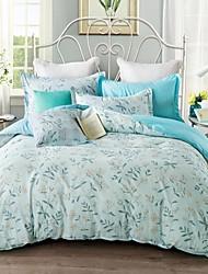 4 Pieces Queen Size Cotton Flower Pattern Duvet Cover+Flat Sheet +Shams