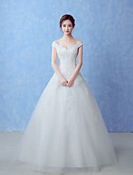 A-line Wedding Dress Floor-length Off-the-shoulder Tulle with Beading