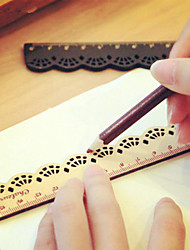1PC Kawaii Cute Stationery Lace Brown Wood Ruler Sewing Ruler Office School Accessories(Style random)