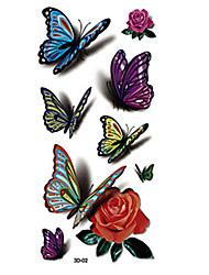 8 Tatouages Autocollants Séries animales Séries de fleur AutresNon Toxique Motif Halloween Grande Taille Hawaïen Bas du Dos Imperméable