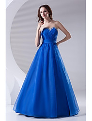 Formal Evening Dress A-line Sweetheart Floor-length Organza with Appliques / Beading / Side Draping