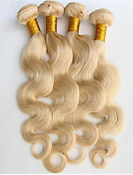3pcs/lot Hair #613 Bleached Platinum Blonde Brazilian virgin Human Hair Body Wave Weaves Wavy Extensions Machine Weft