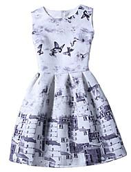 Girl's Cotton Summer Sleeveless Cute Floral Print Butterfly Print Dress