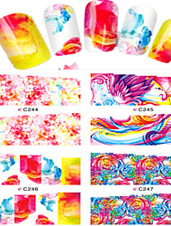 8pcs  Nail Art Water Transfer Stickers Colorful Abstractive Image Fashion C244-247