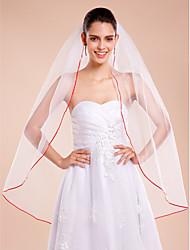 Wedding Veil One-tier Fingertip Veils Ribbon Edge Tulle White White / Ivory