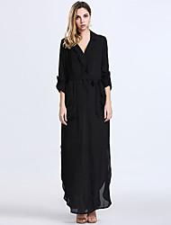 Women's Sexy Vintage Deep V Neck Long Sleeve Split Maxi Dress