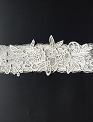 Подвязка Стреч-сатин Цветок Стразы Слоновой кости