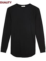 Trenduality® Hommes Col Arrondi Manche Longues T-shirt Noir-63009