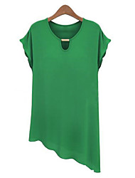 Hot Sale High Quality Women's Solid Blue / White / Black / Green / Yellow T-shirt,Round Neck Short Sleeve