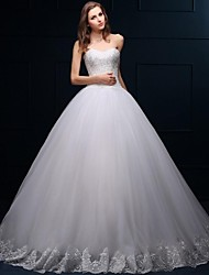 Ball Gown Sweetheart Floor Length Tulle Wedding Dress with Beading Appliques by HQY