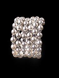 Women's Persona Beads Collection Bracelet Imitation Pearl Rhinestone Wristband Adjustable Armband