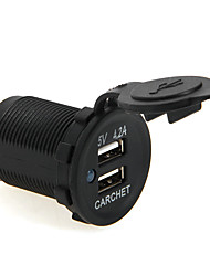 CARCHET Dual USB Car Charger Motorcycle Truck Bus RV 5V 4.2A Output With Dust Cover