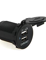 carchet Двойной выход USB автомобильное зарядное устройство мотоцикл грузовик автобус с.в. 5v 4.2a с защитой от пыли