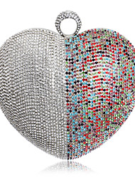 L.west Women Heart-shape Color Matching Diamonds Evening Bag