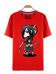 Inspired by Naruto Sasuke Uchiha Anime Cosplay Costumes Cosplay T-shirt Print Red Short Sleeve Top