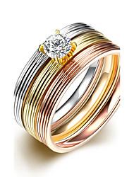 Anéis Zircônia cúbica Casual Jóias Aço Feminino Anel 1 Conjunto,6 7 8 9 Multicolorido