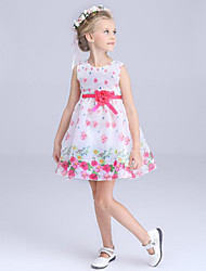 Girl's White Dress Polyester Summer