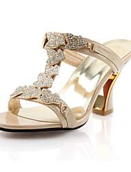 Women's Shoes Glitter Chunky Heel Heels / Comfort Sandals Wedding / Party & Evening / Dress / Casual Black / Gold