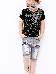 Boy's Cotton Summer Bat Adornment Cowboy Middle Pants