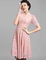 Baoyan® Mujer Escote Chino Manga Corta Sobre la Rodilla Vestidos-160079