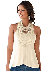 Women's Patchwork Lace Bohemian Style Hollow Out Sexy Casual Tanks,Round Neck Sleeveless