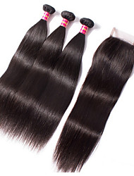 3 Bundles With Closure Straight 6A Unprocessed Brazilian Virgin Hair Straight 3 Bundles With Lace Closure