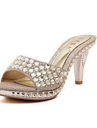 Zapatos de mujer-Tacón Cono-Zapatillas-Pantuflas-Vestido-Purpurina-Plata / Oro