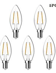 5 pcs kwb e14 2w 2 cob 180 lm blanc chaud c35 edison ampoules de fil de fil vintage 220-240 v