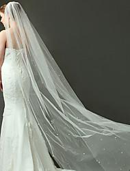 Véus de Noiva Uma Camada Véu Capela Corte da borda Tule Marfim