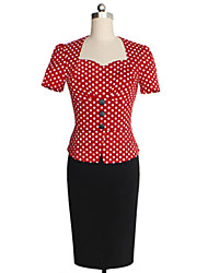 Women's Vintage Square Neck Button Dress , Cotton Blends Knee-length