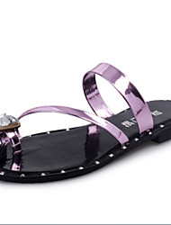 Women's Shoes PU Flat Heel Slippers Sandals / Slippers Outdoor / Dress / Casual Pink / Silver / Gold