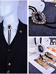 Baroque pattern Bolo Tie Western Cowboy Artificial Black Onyx Men Necktie