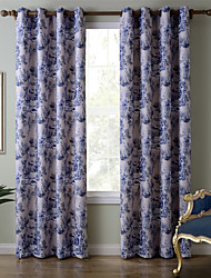Chadmade SOFITEL Heat Transfer Print Classic Traditional Country Stylen - Nickle Grommet - Beige + Blue