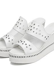 Women's Shoes Leatherette Wedge Heel Peep Toe Sandals Office & Career / Casual Black / White