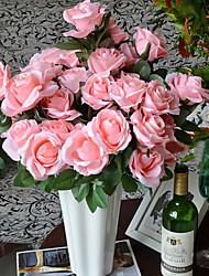 двенадцать голов шелковых роз искусственные цветы многоцветной дополнительно 1 шт / комплект