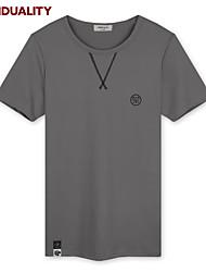Trenduality® Hommes Col Arrondi Manche Courtes T-shirt Gris-43089