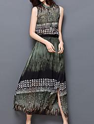 Women's Simple / Beach Floral Sheath Dress , Crew Neck Midi Polyester