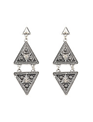 Fashion Women Vintage Engraved Triangle Drop Earrings