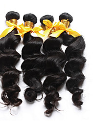 "3Pcs/Lot 10""-26"" hot sale hair Brazilian loose curl loose wave virgin unprocessed hair extensions one donor hair weaves"