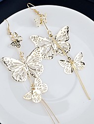 Retro Earrings Ear Pendants Eardrop Long Multi Hollowed-Out Butterfly Style Wedding Decoration