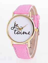 New Arrival Fashionable Casual Women's Wrist Watch Pu Leather Quartz Lava with Words Printed On Dial Cool Watches Unique Watches Strap Watch