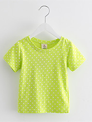2016 Summer Baby Girl T Shirt Cotton Short Sleeve White Dot Print Brand Sports Tees Spring Kids Tops Girls T-shirt