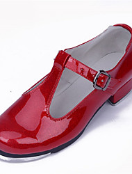 Non Customizable Women's Dance Shoes Patent Leather Patent Leather Tap Heels Low Heel Performance Black / Red