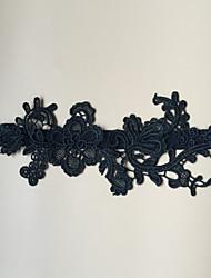 Jarretière Satin élastique Fleur Noir