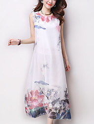 Women's Vintage Ethnic Print Floral Loose Dress,Casual Round Neck Maxi Cotton / Linen