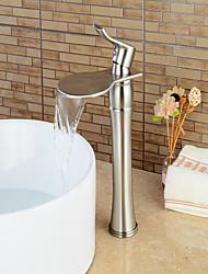 Contemporain Set de centre Cascade with  Valve en céramique Mitigeur un trou for  Nickel brossé , Robinet lavabo