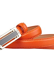 L.WEST® Women's Leather Smooth Buckle Skinny Belts