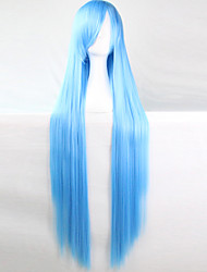Anime Cosplay Wig Wathet Blue 100 CM Long Straight Hair High Temperature Wire