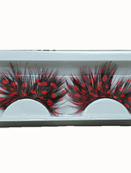 Sexy Feather Eyelashes Individual Balck and Red False Eyelashes for Party Lashes Accessories