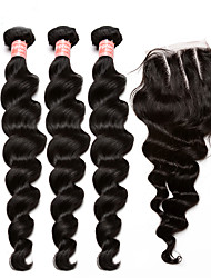 Malaysian Virgin Hair With Closure 5X5 Loose Wave Human Hair Extensions With Closure 4Pcs Top Quality